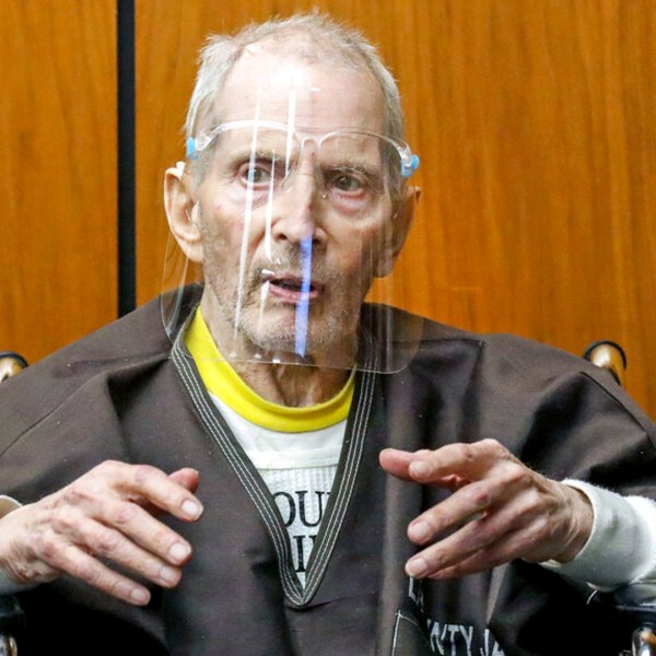 In this Monday, Aug. 9, 2021, file photo, New York real estate scion Robert Durst, 78, answers questions at the Inglewood Courthouse. (Gary Coronado/Los Angeles Times via AP, Pool, File)