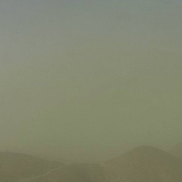 A webcam image shows the dust storm near Victorville on Oct 11, 2021. (NWS)