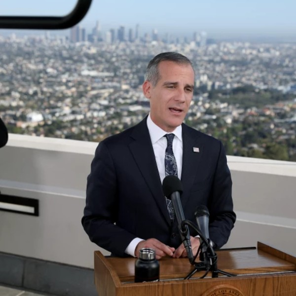 Mayor Eric Garcetti delivering his State of the City address in April, when he announced plans for a guaranteed income program.(Gary Coronado / Los Angeles Times)