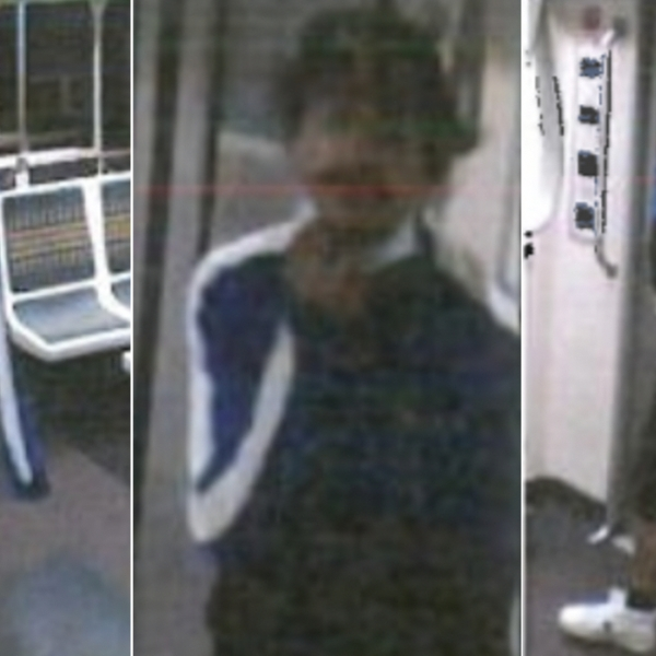 Surveillance images showing the suspect in a woman's fatal shooting on a Metro train in Hollywood were released Oct. 11, 2021, by the Los Angeles Police Department.