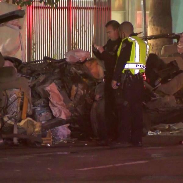 Police investigate a fatal crash in North Hollywood on Oct. 11, 2021. (KTLA)