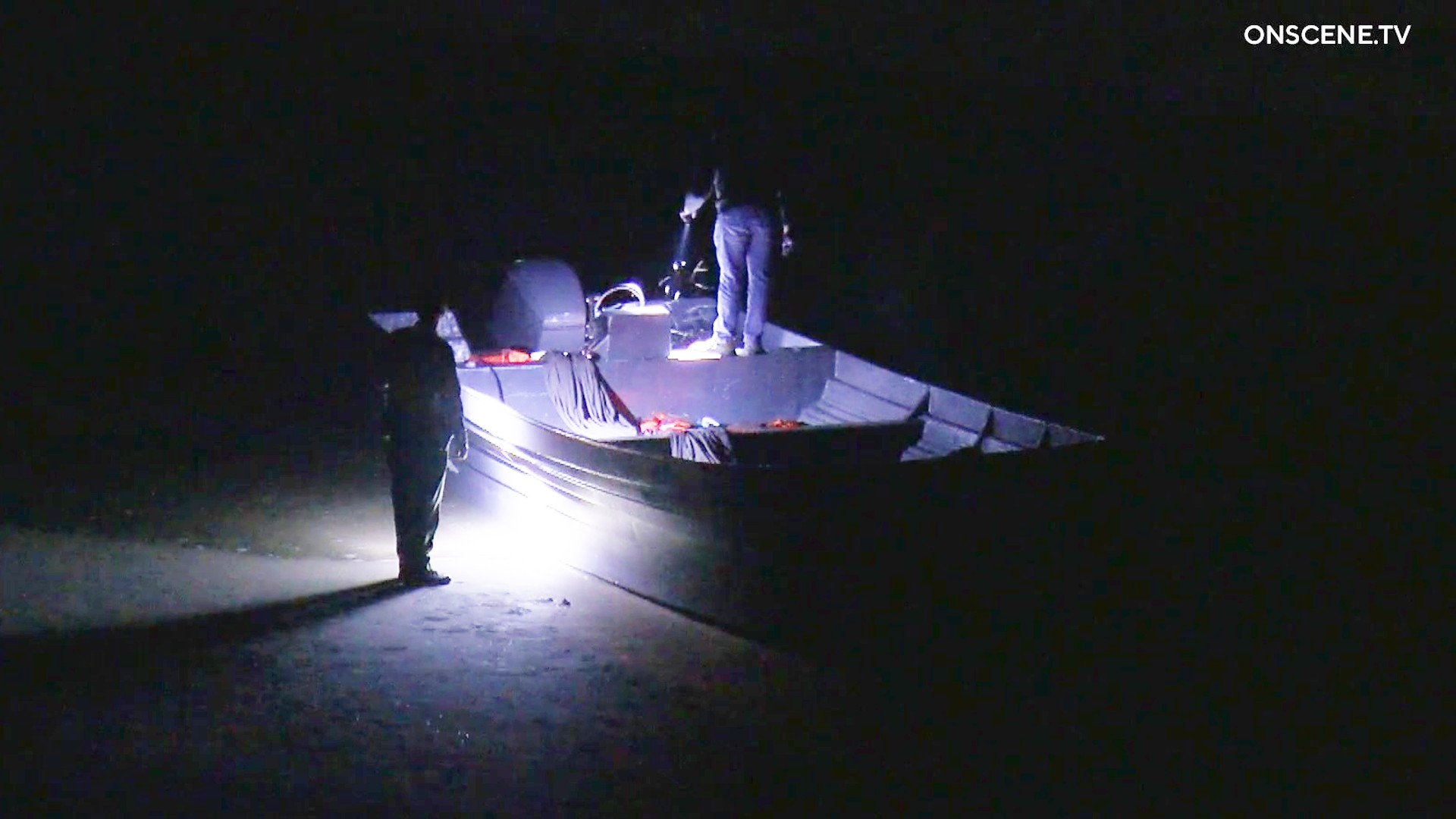 A panga boat is discovered in Ventura County on Oct. 18, 2021. (OnScene.TV)