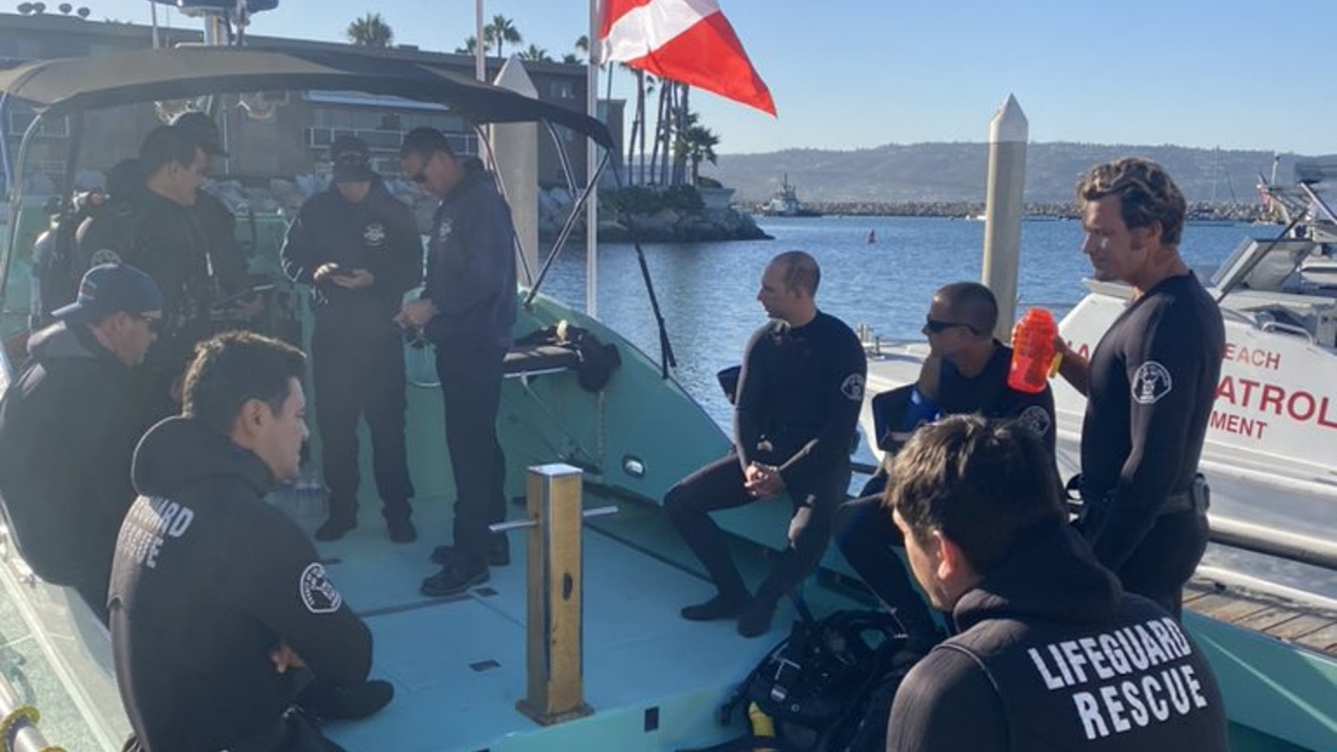 A lifeguard rescue team resumed their search for a missing swimmer near Redondo Beach on Oct. 12, 2021. (L.A. Co. Lifeguards)