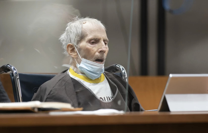 Robert Durst, shown during his sentencing hearing last week, is hospitalized and on a ventilator after contracting COVID-19, his lawyer said.(Myung J. Chun / Los Angeles Times)