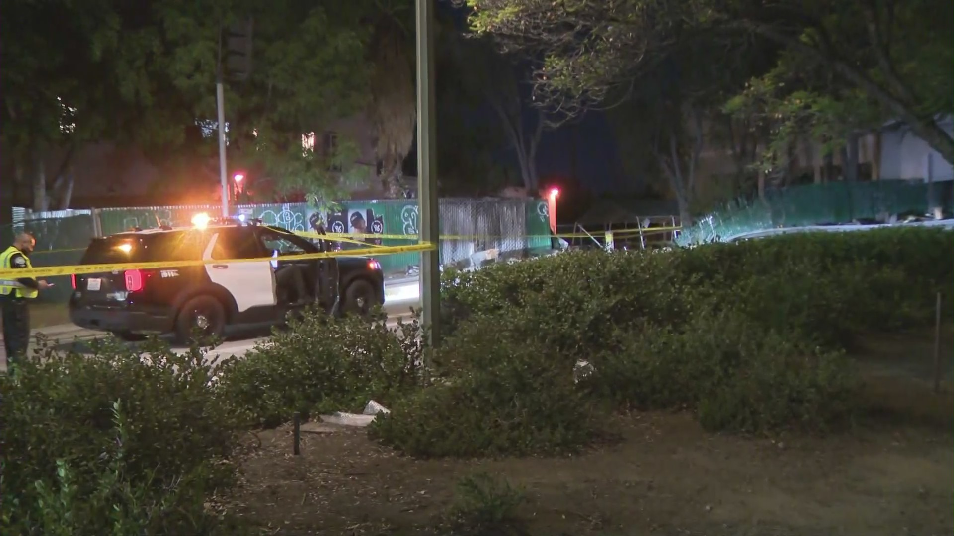 Emergency personnel respond to a fatal crash in Hollywood on Oct. 28. (KTLA)