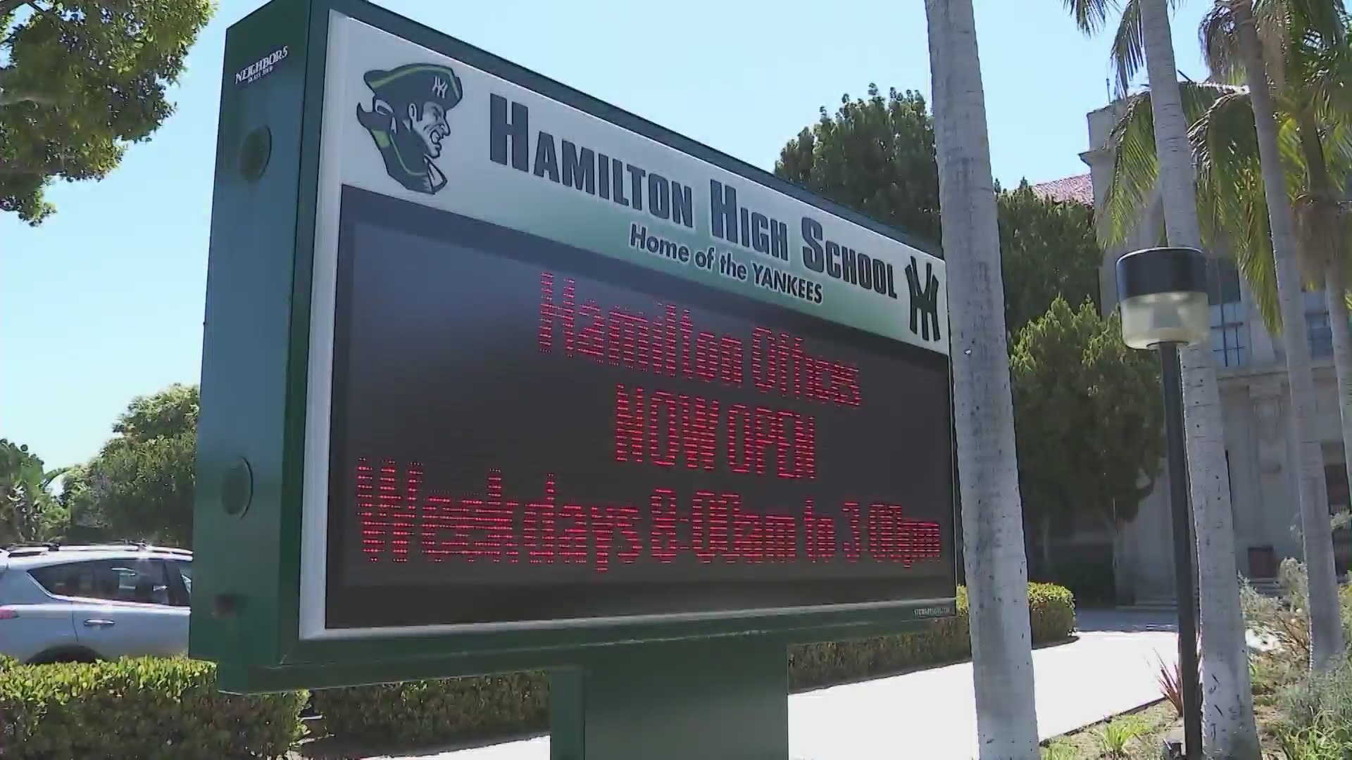 A sign in front of Hamilton High School in the Palms neighborhood is seen in this undated file image. (KTLA)
