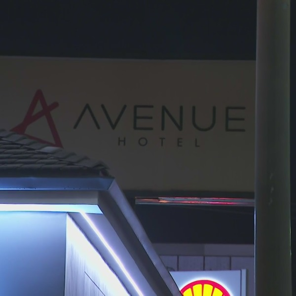 Police investigate a fatal shooting outside the Avenue Hotel in East Hollywood on Oct. 5, 2021. (KTLA)