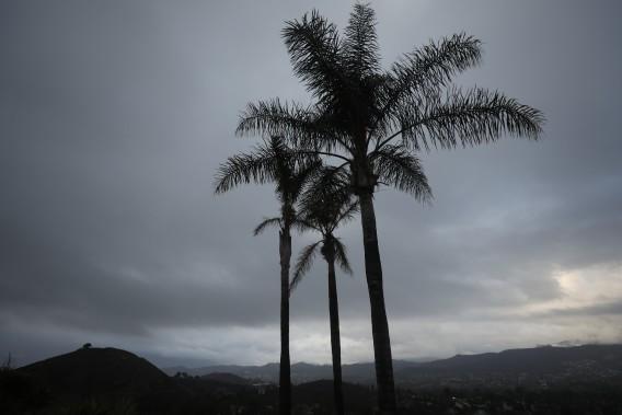 Overcast skies loom over Tarantula Mountain in Thousand Oaks as moisture blankets Southern California on Oct. 18, 2021. (Al Seib / Los Angeles Times)