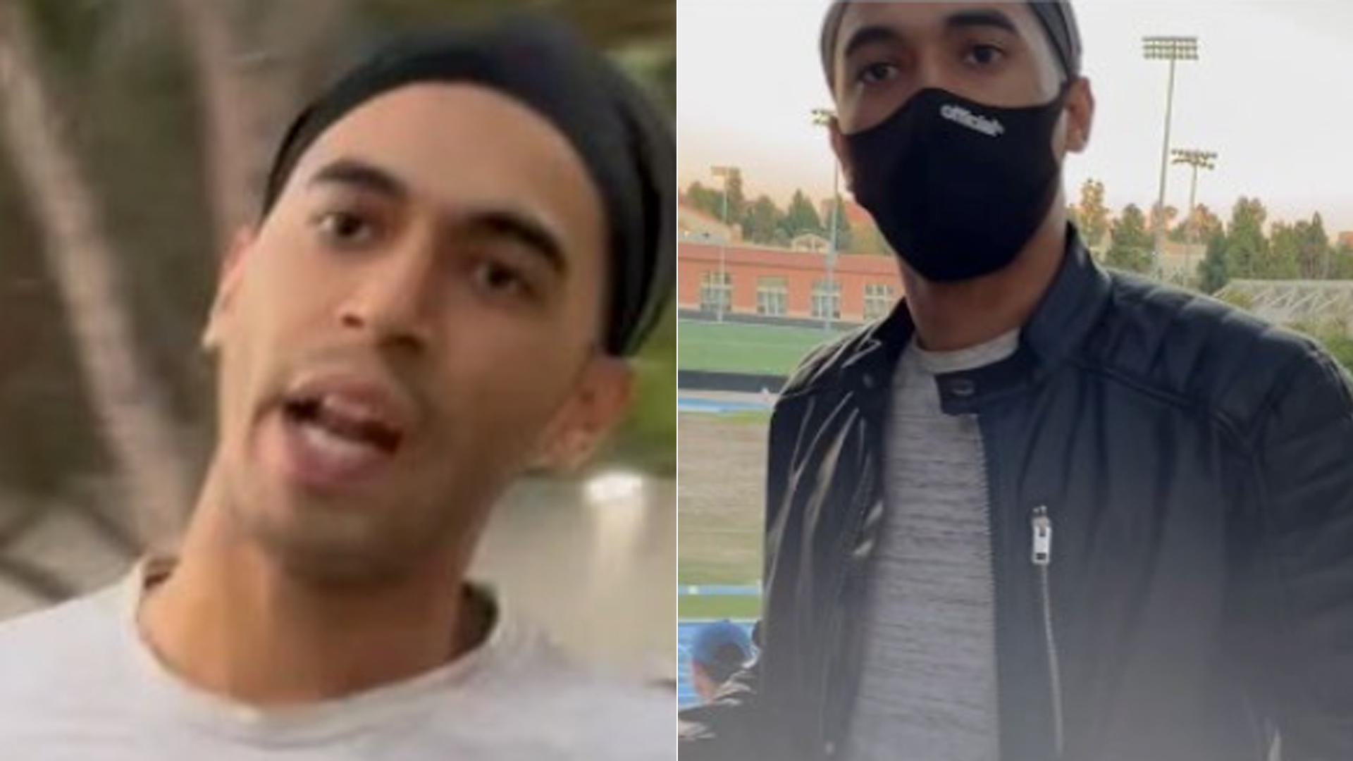 UCLA police on Oct. 27, 2021 released these images of a man sought in assaults at Drake Stadium.